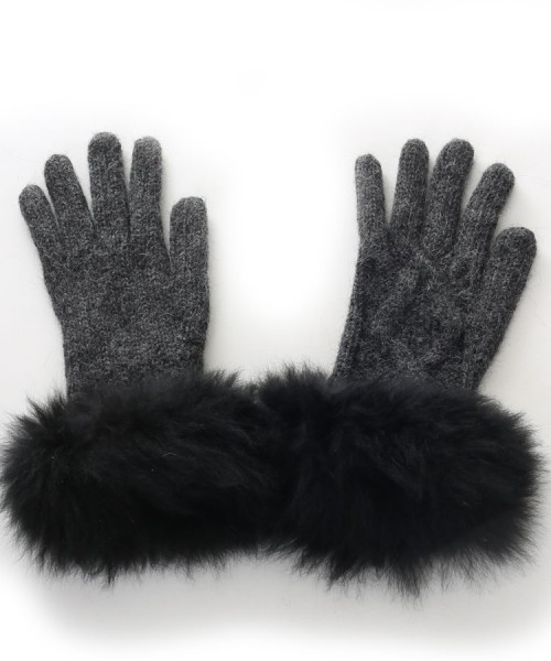 Alpaca Cable Knit Gloves With Fur Trim Charcoal