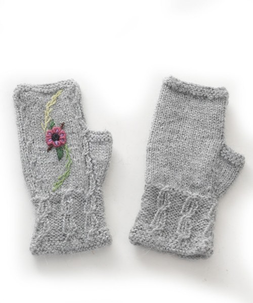 Alpaca Fingerless Gloves Embroidered Flower Grey