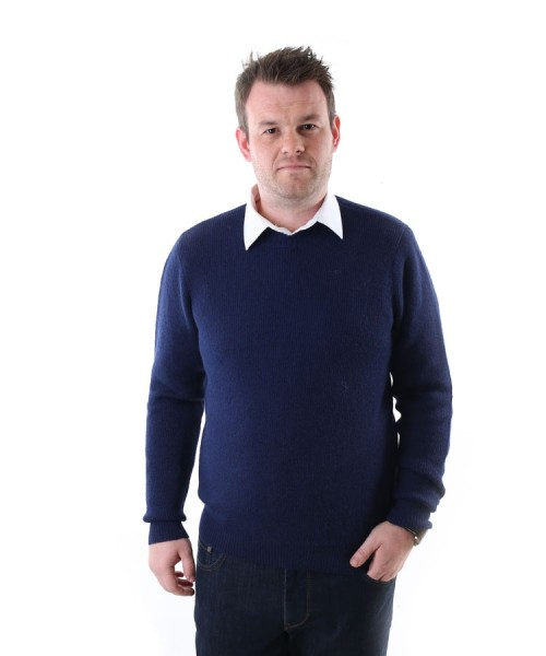 The Alpaca Collection Mens Crew Neck Jumper In Navy