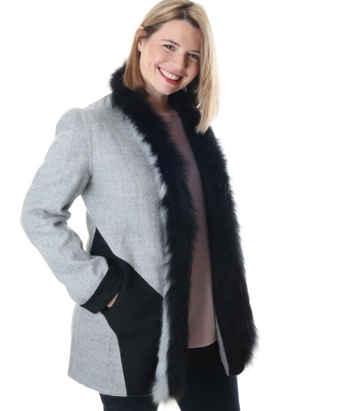 Alpaca & Wool Reversible Coat Black & Grey