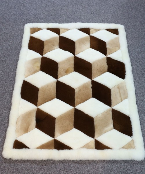 Large Alpaca Geometric Rug White, Fawn & Brown