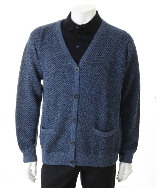Alpaca Leo mens Cardigan Blue
