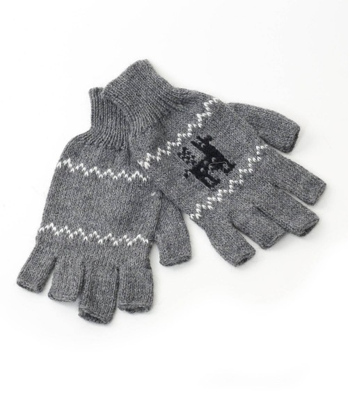 alpaca fingerless gloves motif light grey