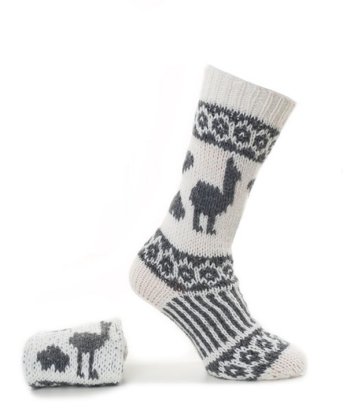 Alpaca Hand Knitted Long Socks White