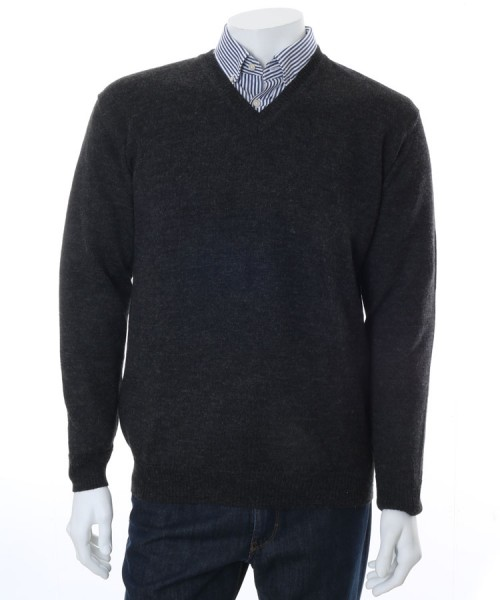 The Alpaca Collection Marcus V Neck Jumper Charocoal