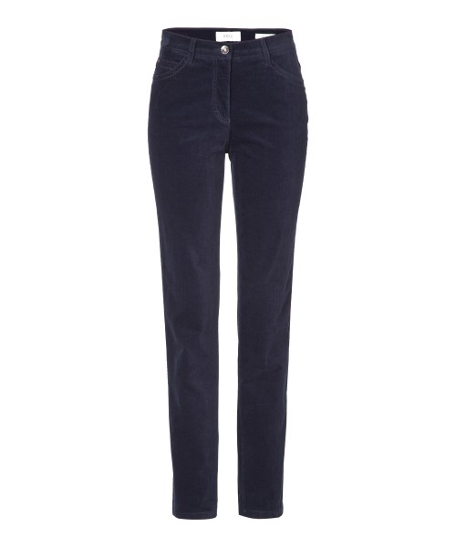 Brax Mary Velvet Trousers Slim Straight Leg Dark Blue