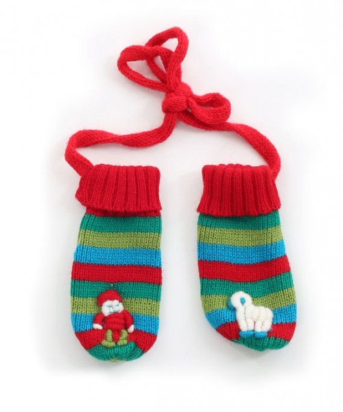 Childrens Alpaca Mittens Red