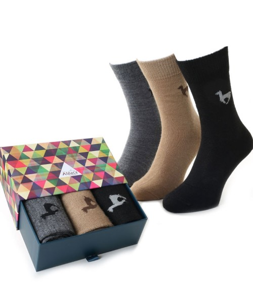Alpaca Sock Box Motif Camel/Black/Grey