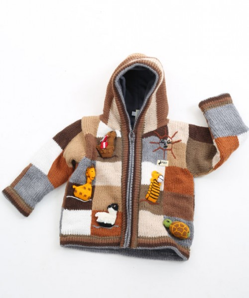 Childrens Alpaca Applique Lined Cardigan Natural Check