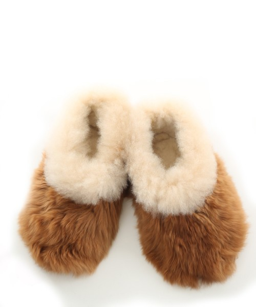 Alpaca Slippers Adult Multi Cream & Tan
