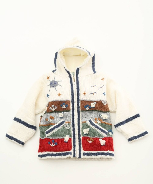 Childrens Alpaca Applique Lined Cardigan Natural