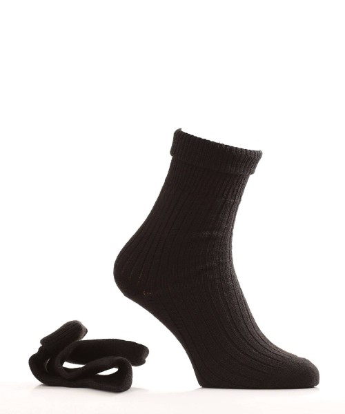 Alpaca & Wool Socks Turn Down Top Black