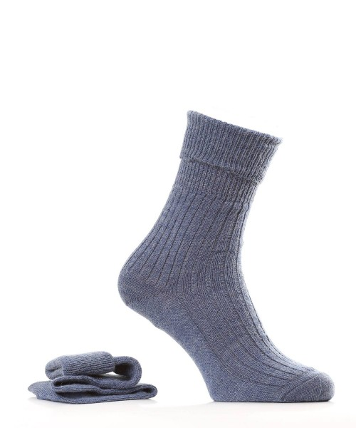 denim coloured alpaca and wool socks
