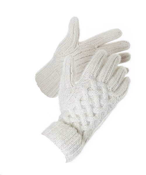 Alpaca Snake Cable Knit Gloves Natural