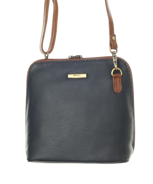d1badaf17877 Nova 820 Leather Small Cross Body Handbag Navy   Chestnut in Nova Leather  Handbags Range