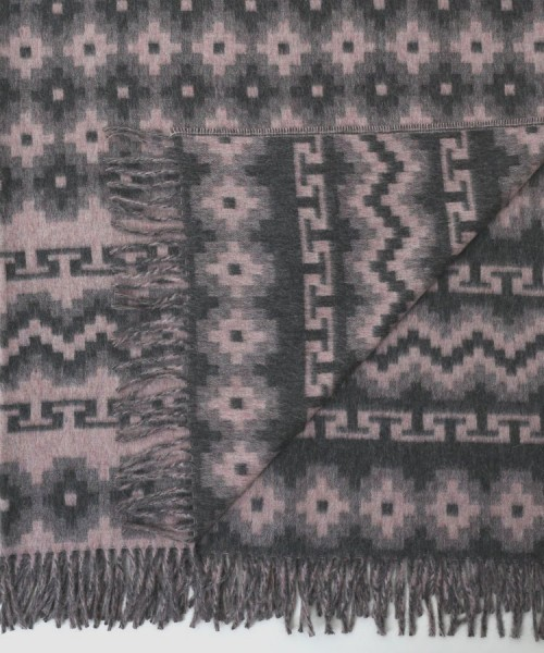 Alpaca Blanket / Throw Grey & Pink Print
