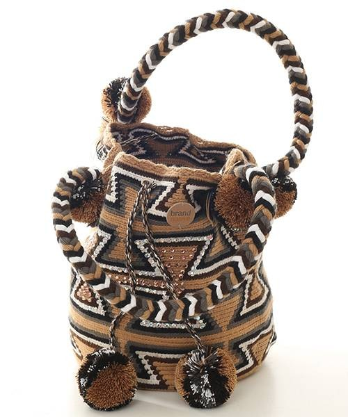 Brand Native Mochila Bag Pompom Brown