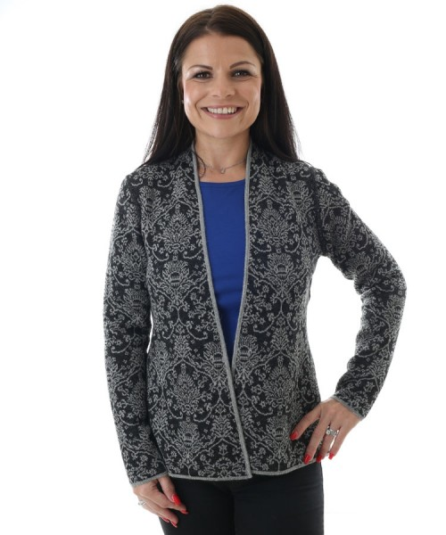 Artisan Route Alicia Alpaca Reversible Cardigan Charcoal Mix