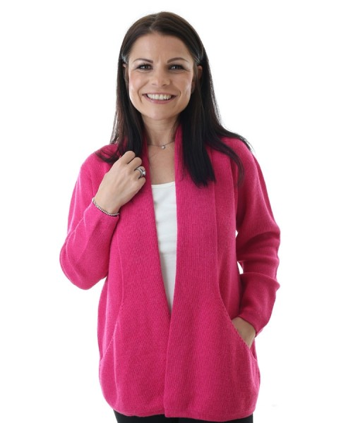 The Alpaca Collection Angelica Cardigan Fuchsia Pink