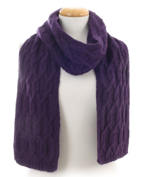 Alpaca Cable Knit Scarf Purple