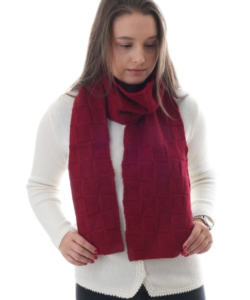 Alpaca Square Knitted Scarf Red