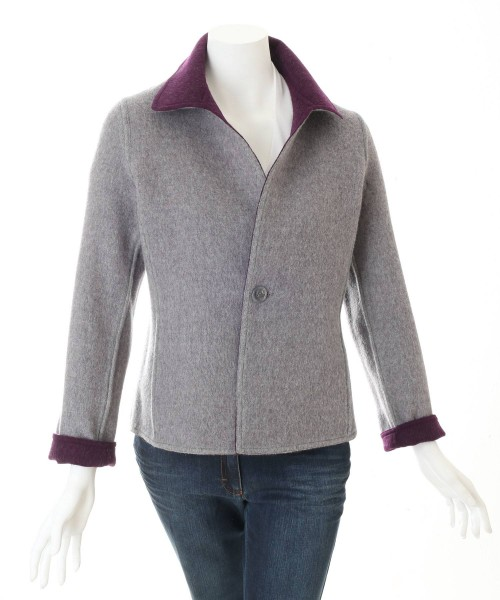 Alpaca Reversible Coat Purple/Grey