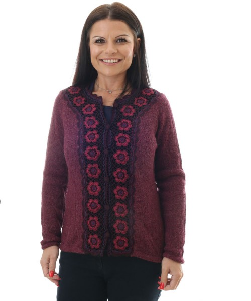 Alpaca Rose Crocheted Cardigan Purple
