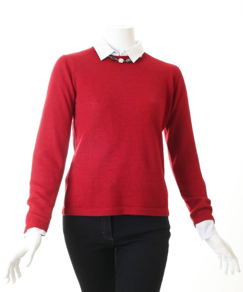 Alpaca Round Neck Jumper Red