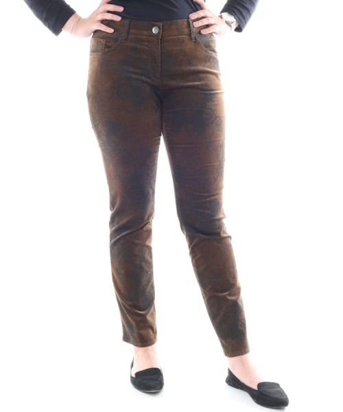 Brax Sara Slim Velvet Trousers Ornamental Brown