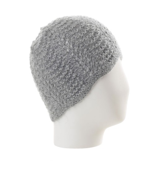 Alpaca Scallop Edge Beanie Hat Grey