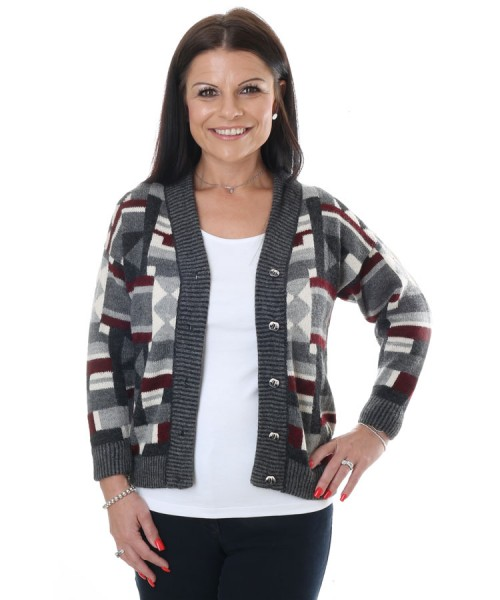 The Alpaca Collection Selena Cardigan Grey & Red print