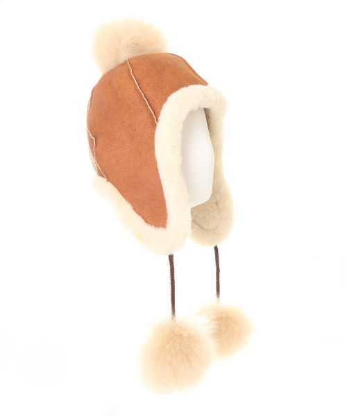 Alpaca & Sheepkin Pompom Hat Tan