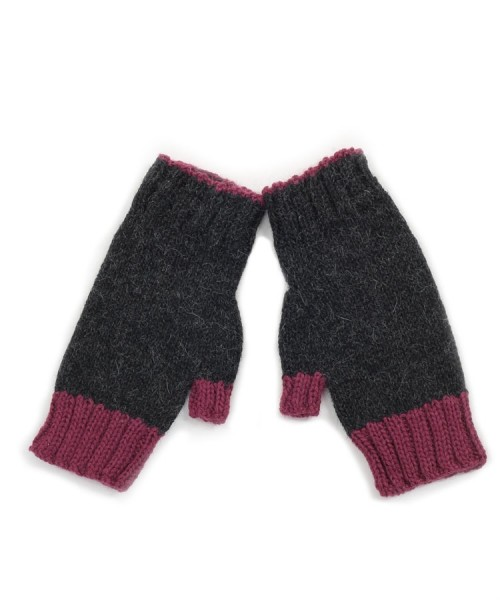 Alpaca Fingerless Gloves Grey/Pink