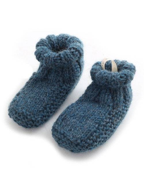 Alpaca Hand Knitted Baby Slippers Teal Blue