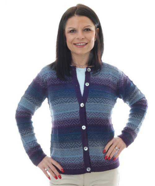 Alpaca Triana Stripey Cardigan Blue
