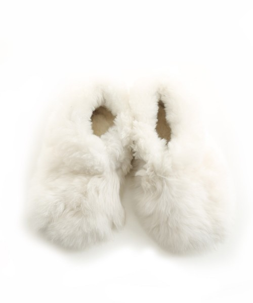 Childrens Alpaca Furry Slippers White Sizes 13-2