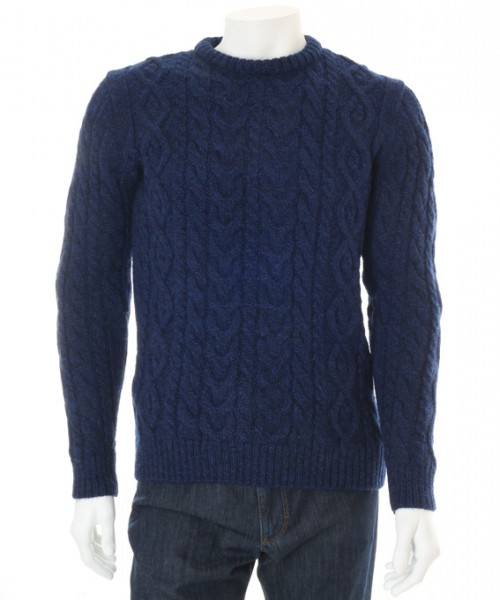Wilson & Sloane Sheep Wool Cable Knit Jumper Pacific Blue
