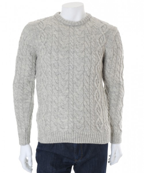 Wilson & Sloane Sheep Wool Cable Knit Jumper Silver Frost