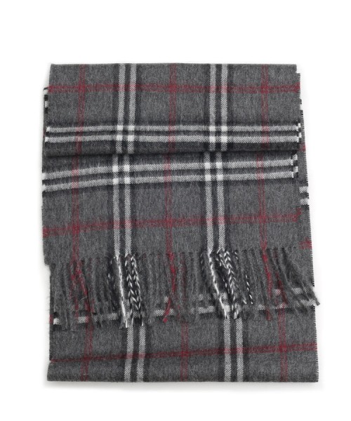 Baby Alpaca Woven Scottish Scarf Charcoal