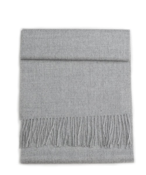 Baby Alpaca Woven Scarf Light Grey