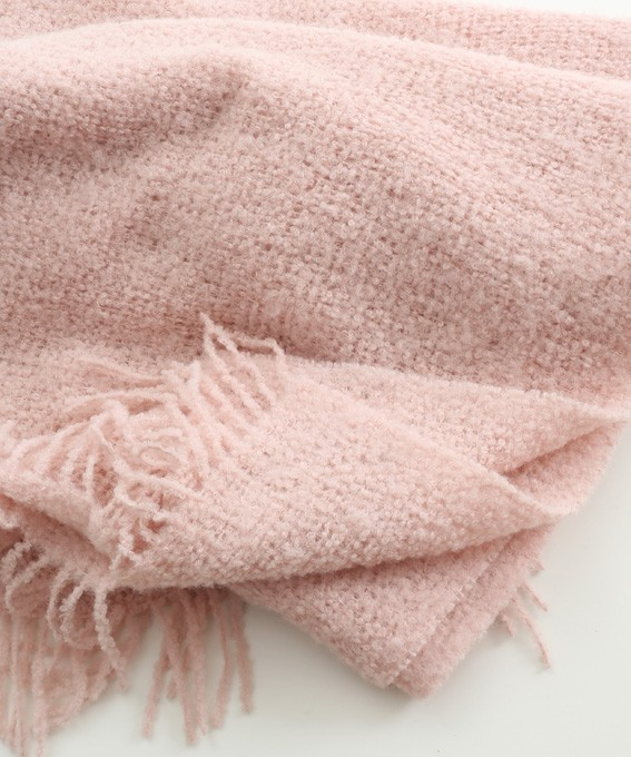 Alpaca Boucle Blanket Throw Pale Pink In Alpaca Clothing
