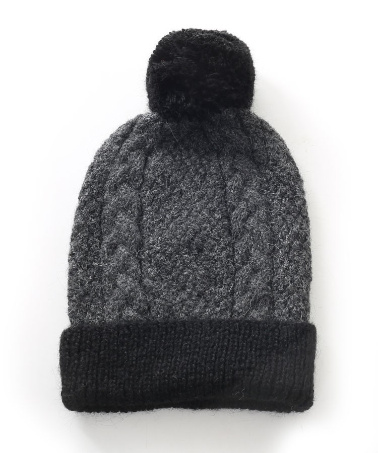 Alpaca Gisell Pom Pom Cable Hat Charcoal And Black in Alpaca ... 25c1931a8c9