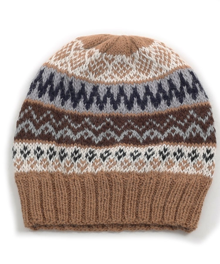 134c7f708df967 Alpaca Fairisle Beanie Hat Camel in Alpaca Clothing Co Range