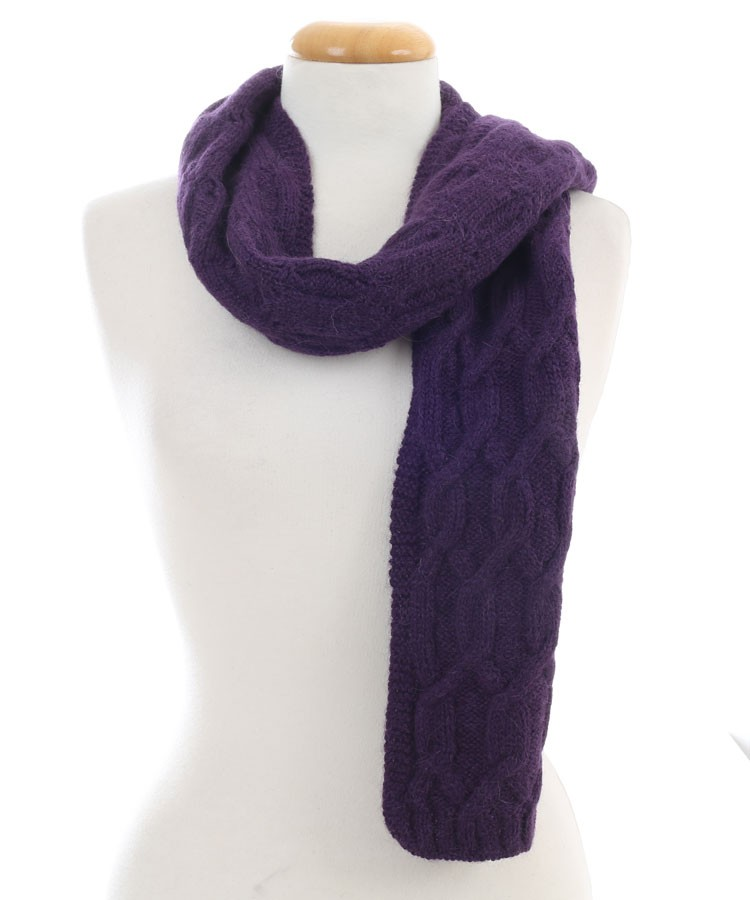Knitting Pattern Alpaca Scarf : Alpaca Cable Knit Scarf Purple in Alpaca Clothing Co Range