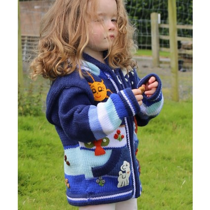 Childrens Applique Cardigan Navy