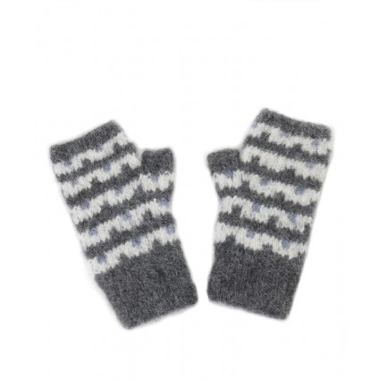 Alpaca Utah Fingerless Gloves Charcoal