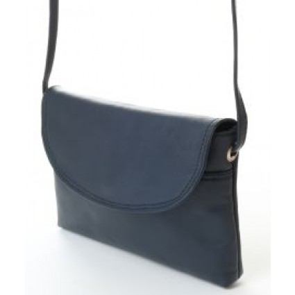 Nova 0592 Real Leather Cross Body Handbag Navy