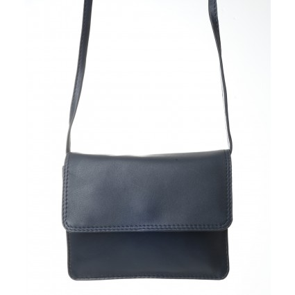 Nova 0702 Leather Petite Cross-Body Handbag Navy