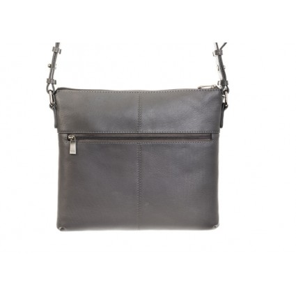 Nova 0749 Leather Messenger Handbag Grey