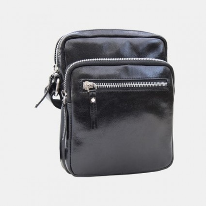 Primehide Leather Flight Bag Black 6273